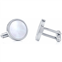 Stainless Steel Cufflink With Mother Of Pearl