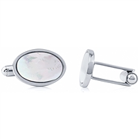 Stainless Steel Oval Cufflink With Mother Of Pearl