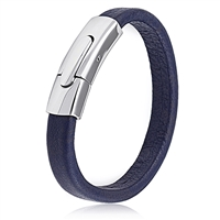 Stainless Steel Dark Blue Leather Bracelet