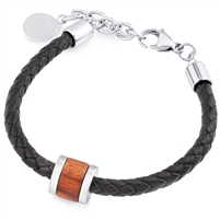 Stainless Steel Black Leather Bracelet With Wood