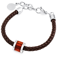 Stainless Steel Brown Leather Bracelet With Wood