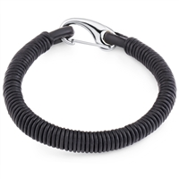 Stainless Steel Black Wrapped Leather Bangle