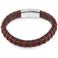 Stainless Steel Brown Red Braided Leather Bangle