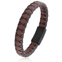 Stainless Steel Black Brown Braided Leather Bangle