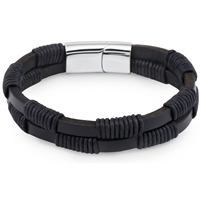 Stainless Steel Black Braided Leather Bangle