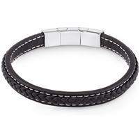 Stainless Steel Black Leather With Magnetic Claps Bangle