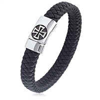 Stainless Steel Black Braided Leather With Magnetic Cross Buckle