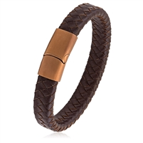 Stainless Steel Brown Braided Leather Bracelet With Magnetic Buckle
