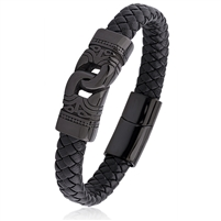 Stainless Steel Black Braided Leather Bracelet With Magnetic Buckle