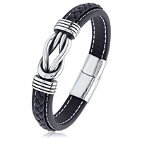 Stainless Steel Black Leather Braided Bracelet With Magnetic Clasp