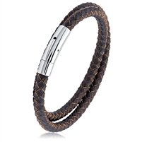 Stainless Steel Brown Braided Wrap Leather Bracelet With Steel Clasp