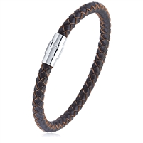 Stainless Steel Brown Braided Leather Bracelet With Steel Clasp