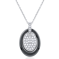Stainless Steel Necklace With Stainless Steel And Ceramic Pendant