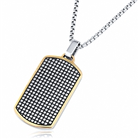 Stainless Steel Gold Plated Dog Tag Pendant With 24 Inches Rolo Chain