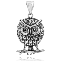 Stainless Steel Pendant With Black Onyx - Owl