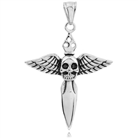 Stainless Steel Pendant Sword with Wings and Skull