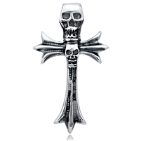 Stainless Steel Skull Cross Pendant