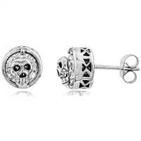 Stainless Steel Studs With CZ - Skull