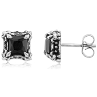 Stainless Steel Square Studs With Black CZ