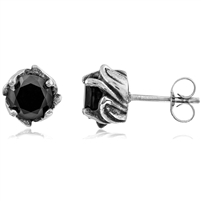 Stainless Steel Studs With Black CZ