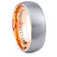 Tungsten Ring-8mm wide- Comfort Fit With Rose Gold Plated Inside and Outside Brushed Without Plated