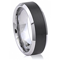 Tungsten Ring-8mm wide- Comfort Fit. Polished Shiny And Brushed With IP Black Plated