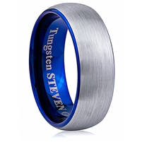 Tungsten Ring-8mm wide- Comfort Fit. Brushed Outside and Without Plated, Inside Polished With IP Blue Plated