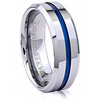 Tungsten Ring-8mm wide- Comfort Fit. Polished Shiny, Center Groove With IP Blue Plated