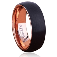 Tungsten Ring-8mm wide- Comfort Fit. Inside Rose Gold Plated, Outside Brushed With IP Black Plated