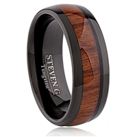 Tungsten Ring-8mm wide- Comfort Fit. Polished Shiny With IP Black Plated And Wood Inlay