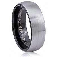 Tungsten Ring-8mm wide- Comfort Fit. Inner Black Plated Outside Brushed Without