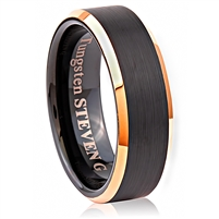 Tungsten Ring-8mm wide- Comfort Fit. Beveled With IP Rose Gold Plated Center (Brushed) And Inside With IP Black Plated
