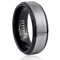 Tungsten Ring-8mm wide- Comfort Fit. Beveled With IP Black Plated, Brushed Surface