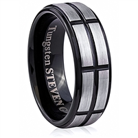 Tungsten Ring-8mm wide- Comfort Fit. Polished And Shiny With IP Black Plated