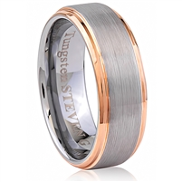 Tungsten Ring-8mm wide- Comfort Fit. Polished Shiny And Brushed With IP Rose Gold Plated