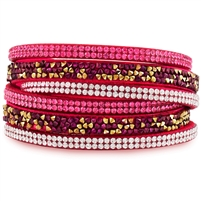 Fuchsia Leather Wrap Bracelet With White and Fuchsia Crystals