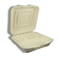 "Compostable Bagasse Clamshell 9"" x 9"" x 3"" (3 compartment) - Heavy Duty"