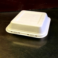 "EcoSource Compostable Bagasse Clamshell 8"" x 8"" x 3"""