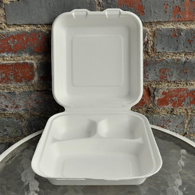 "EcoSource Compostable Bagasse Clamshell 8"" x 8"" x 3"" (3 compartment)"