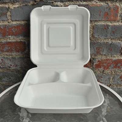 "EcoSource Compostable Bagasse Clamshell 9"" x 9"" x 3"" (3 compartment)"