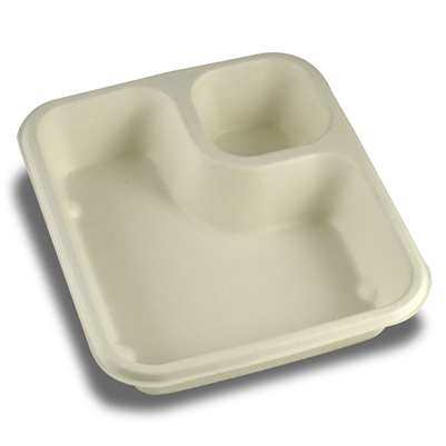 StalkMarket Compostable Bagasse Food Tray Two Compartment