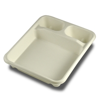 StalkMarket Compostable Bagasse Food Tray Three Compartment