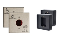 "Detex 105941-TGK, 4 1/2 Square Touchless Button Wired Single Door Kit - Includes:  (2) 4-1/2"" Square Touchless Button Pushplate Switch, (2) 4-1/2"" Square Low-Profile Mounting Box"