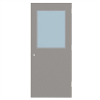 "1440-3070-SVL2436 - 3'-0"" x 7'-0"" Steelcraft / Amweld / DKS Hinge Commercial Hollow Metal Steel Door with 24"" x 36"" Low Profile Beveled Vision Lite Kit, Security Lever Prep, 18 Gauge, Polystyrene Core"