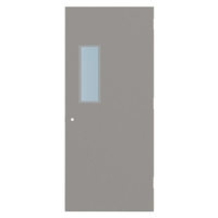 "1440-3070-SVL722 - 3'-0"" x 7'-0"" Steelcraft / Amweld / DKS Hinge Commercial Hollow Metal Steel Door with 7"" x 22"" Low Profile Beveled Vision Lite Kit, Security Lever Prep, 18 Gauge, Polystyrene Core"