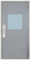 "Commercial Steel Door and Frame, 3'-0"" x 6'-8"", Gray 18 Gauge Hollow Metal Door with 24"" x 24"" Lite Kit, 5-5/8"" Jamb Depth 16 Gauge Drywall Knock Down Frame with Push and Pull Trim"