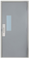 "Commercial Steel Door and Frame, 3'-0"" x 6'-8"", Gray 18 Gauge Hollow Metal Door with 7"" x 22"" Lite Kit, 5-5/8"" Jamb Depth 16 Gauge Drywall Knock Down Frame with Push and Pull Trim"