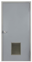 "Commercial Steel Door and Frame, 3'-0"" x 6'-8"", Left Hand, Gray 18 Gauge Hollow Metal Door with 12"" x 18"" Louver, 6-1/4"" Jamb Depth with Lock Package"