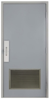 "Commercial Steel Door and Frame, 3'-0"" x 6'-8"", Right Hand, Gray 18 Gauge Hollow Metal Door with 24"" x 18"" Louver, 6-1/4"" Jamb Depth with Push and Pull Trim"