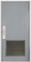 "Commercial Steel Door and Frame, 3'-0"" x 6'-8"", Right Hand, Gray 18 Gauge Hollow Metal Door with 24"" x 24"" Louver, 6-1/4"" Jamb Depth with Push and Pull Trim"